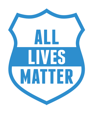 All Lives Matter Police Department Shield Vinyl Car Sticker (White & Blue)