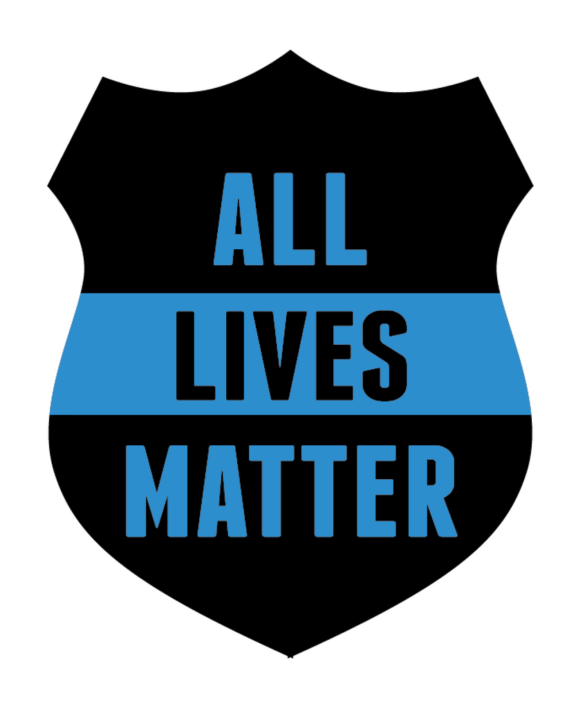 All Lives Matter Police Department Shield Vinyl Decal (Black & Blue)