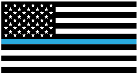 American Flag Thin Blue Line Police Department Vinyl Car Sticker