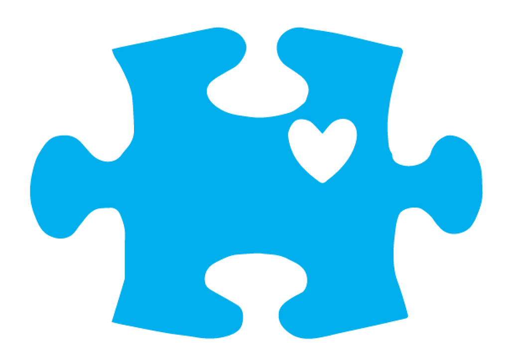 Autism Awareness Puzzle Piece with Heart Laptop Vinyl Sticker