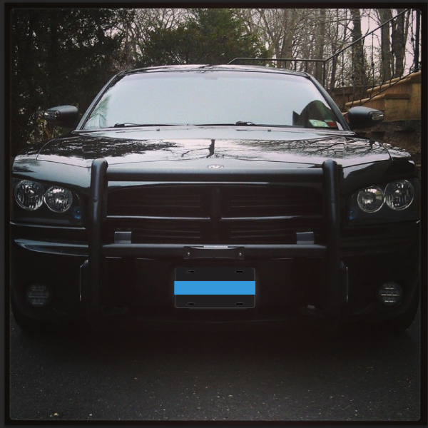 Black License Plat with a Thin Blue Line (12x6)