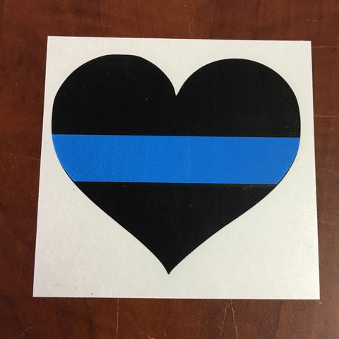 Customizable Black Heart with Thing Blue Line Law Enforcement Support Car Sticker Decal
