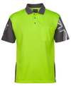AUSSIE FLAG/ SOUTHERN CROSS Hi Vis Orange Yellow Polo Shirt