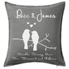 Birds on a Swing - Lovebirds Marriage engagement anniversary Cushion Personalised Custom Uniform Teamwear Gift- Parkway Designs