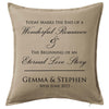 Wedding Day Commemoration Cushion Personalised Custom Uniform Teamwear Gift- Parkway Designs