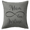 Infinity Love Cushion Custom Printed Personalised Wedding or AnniversaryCushion