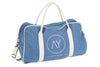 denim duffle duffel bag with logo