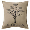 Family Tree Personalised Cushion incl feathers and Postage Personalised Custom Uniform Teamwear Gift- Parkway Designs