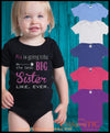 Personalised Big Sister Romper Personalised Custom Uniform Teamwear Gift- Parkway Designs
