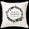 Elegant Wreath Mr & Mrs Cushion Personalised Custom Uniform Teamwear Gift- Parkway Designs