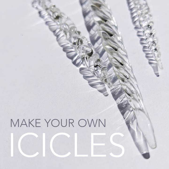 Flameworked Icicle Ornaments Workshop </br> Sunday, December 8, 2019