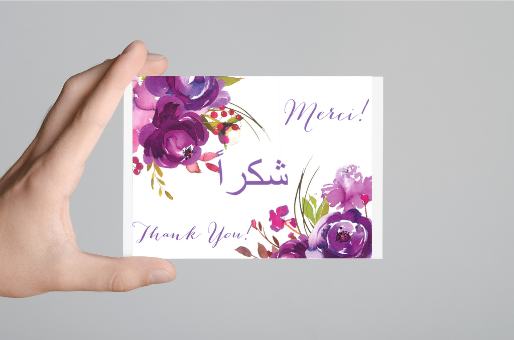 Thank You Card (Purple Roses) - Arabic, English & French