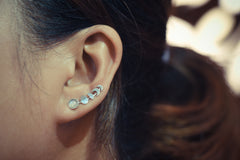 Moonstone Moon Phases Ear Climbers