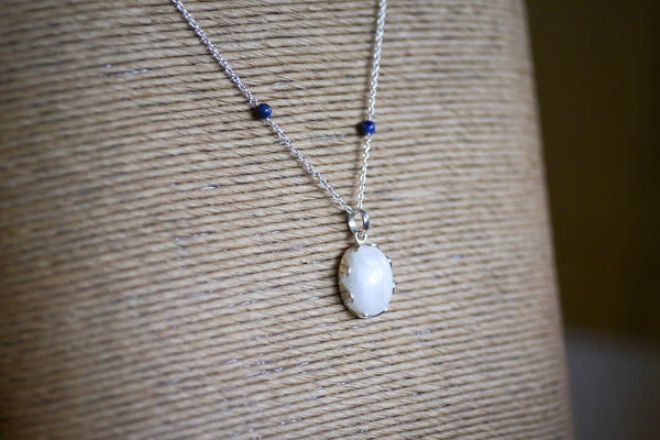 Oval Moonstone on Lapis Lazuli Chain