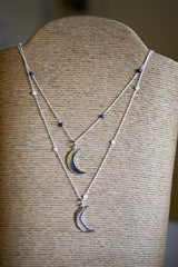 Crescent Moon on Beaded Chain