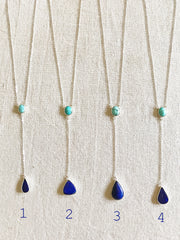 Turquoise and Lapis Lazuli Y Necklace