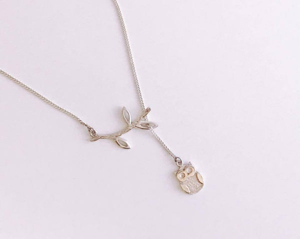 Branch Owl Lariat Necklace