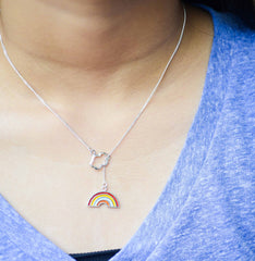 Cloud And Rainbow Lariat Necklace