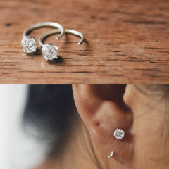 Diamond Hugging Hoops
