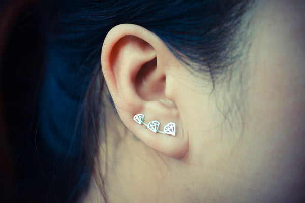 Diamond Outline Ear Climbers