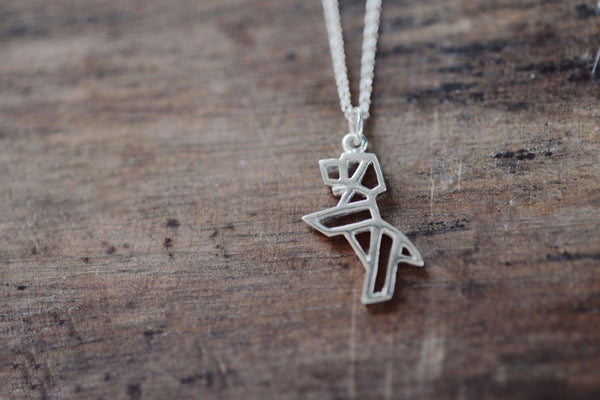 Standing Dog Outline Necklace
