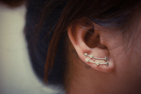 Gemini Zodiac Constellation Ear Climbers