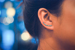 Lucky 9 Birthstone Ear Climbers