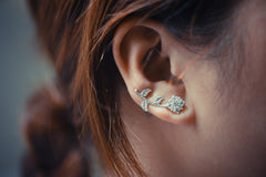 Crystal Flower Ear Climbers