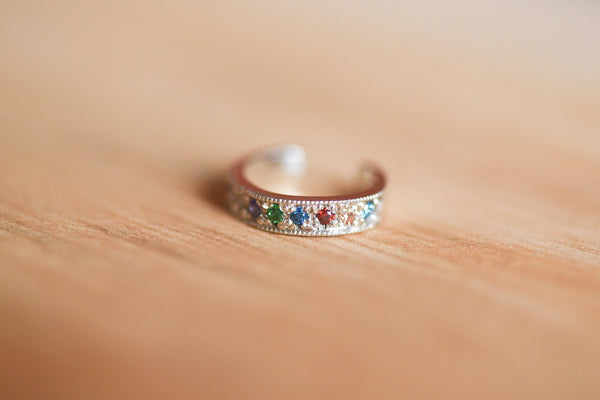 Rainbow Pave Ear Cuff