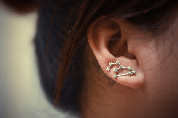 Leo Zodiac Constellation Ear Climbers