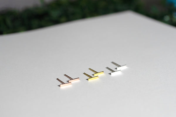 Solid Gold Thin Bar Earring Studs
