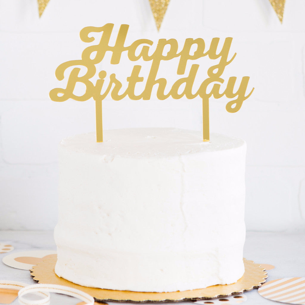 Cake Topper | Gold Happy Birthday