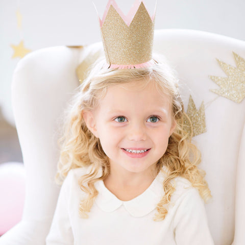 Party Hats | Gold Glitter Princess Crowns