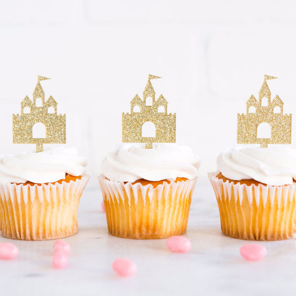Cupcake Toppers | Gold Glitter Princess Castles