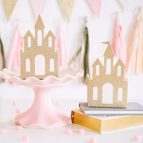 Favor Boxes | Gold Glitter Princess Castles