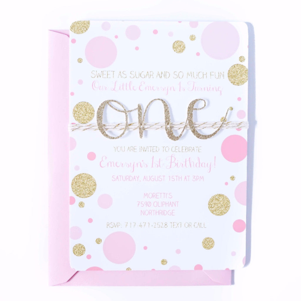 First Birthday Invitation | Confetti Pink and Gold ONE