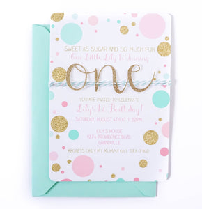 First Birthday Invitation | Confetti Mint, Pink and Gold ONE