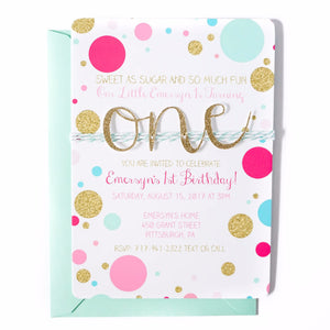 First Birthday Invitation | Confetti Multi Color - Hot Pink, Mint, Blue and Gold
