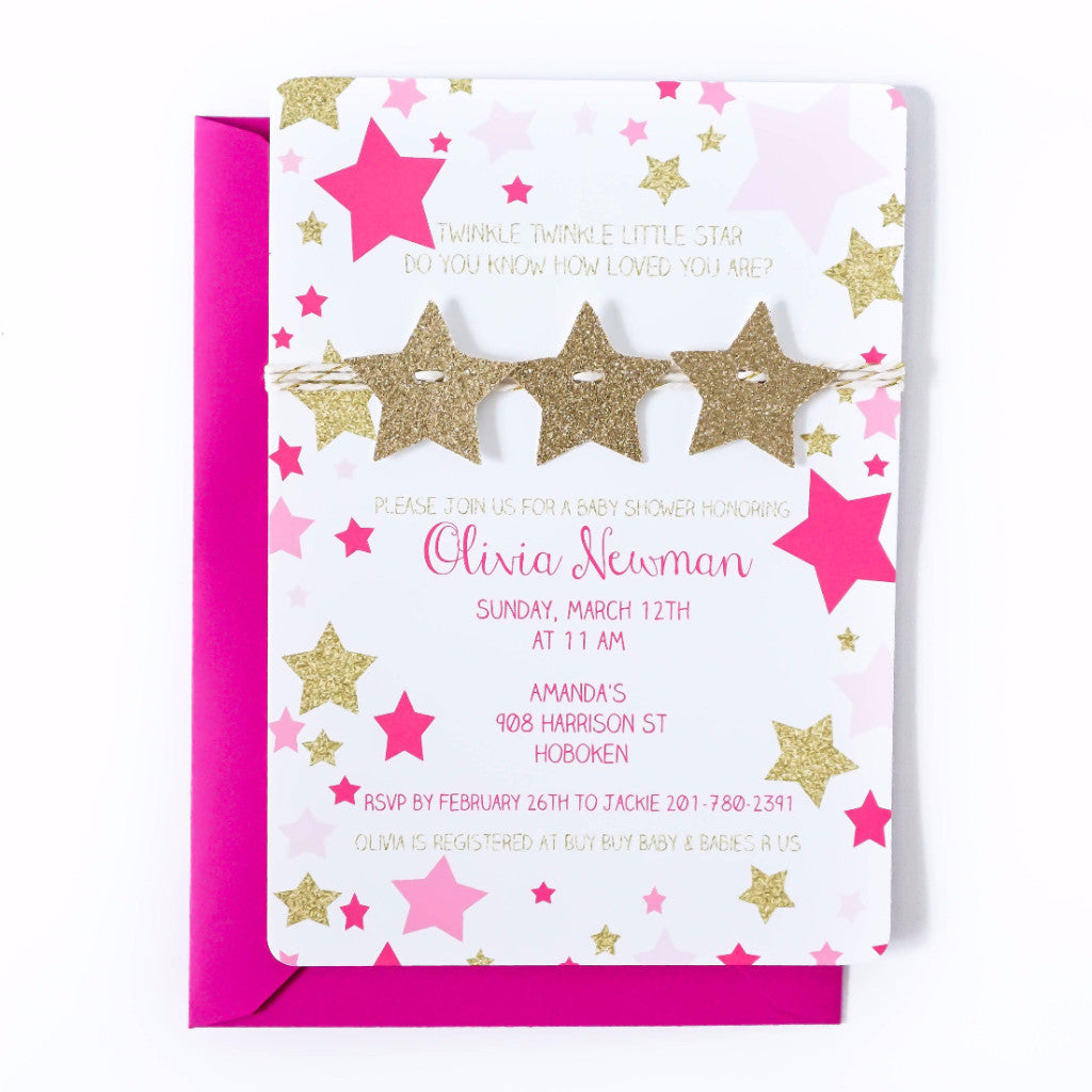 Baby Shower Invitation | Twinkle Twinkle Little Star | Hot Pink and Gold Star