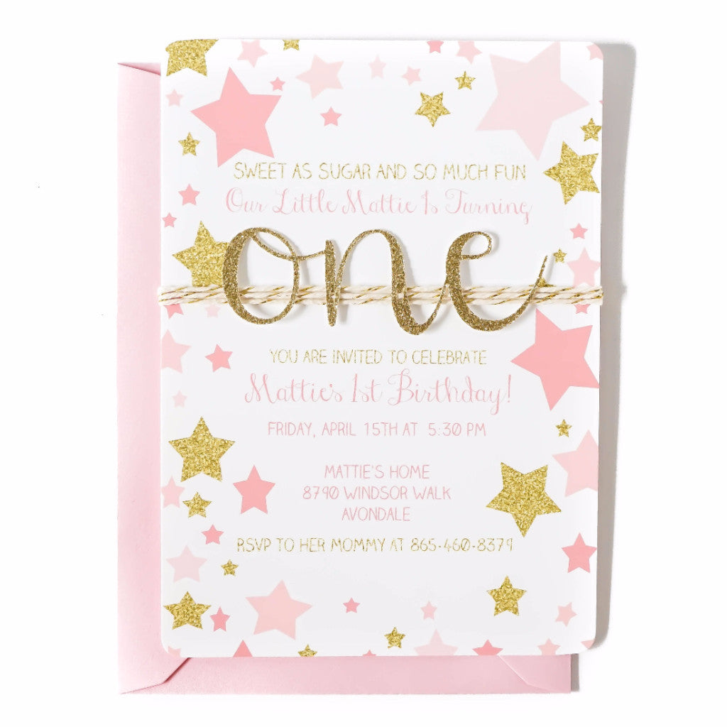 First Birthday Invitation Twinkle Twinkle Little Star Pink and