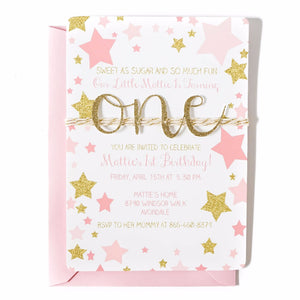 First Birthday Invitation | Twinkle Twinkle Little Star | Pink and Gold