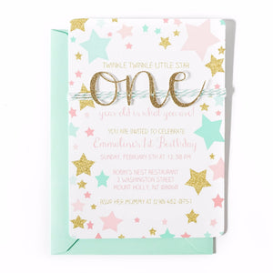 First Birthday Invitation | Twinkle Twinkle Little Star | Mint, Pink and Gold