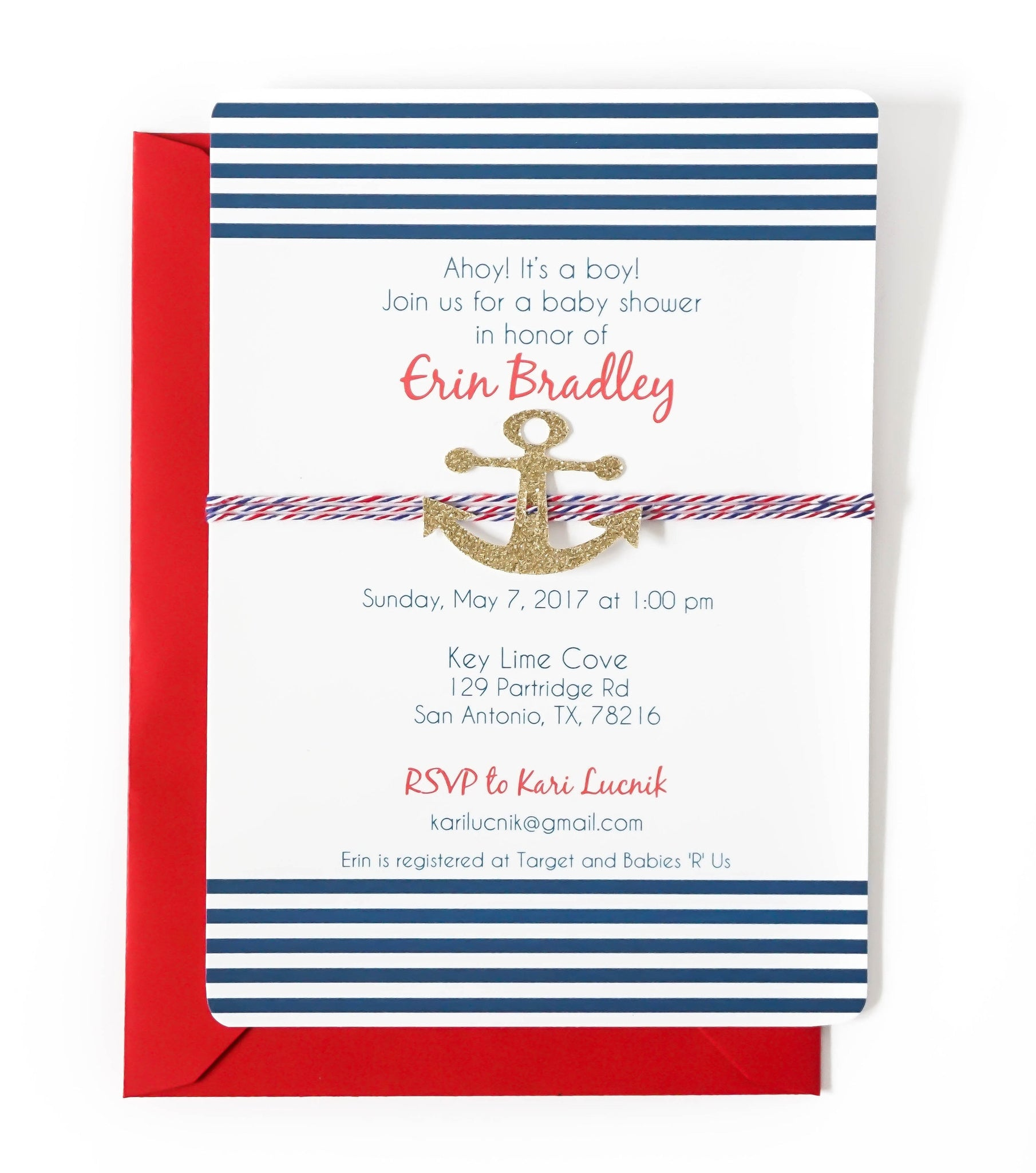 Baby Shower Invitation | Nautical Stripes & Gold Glitter Anchor