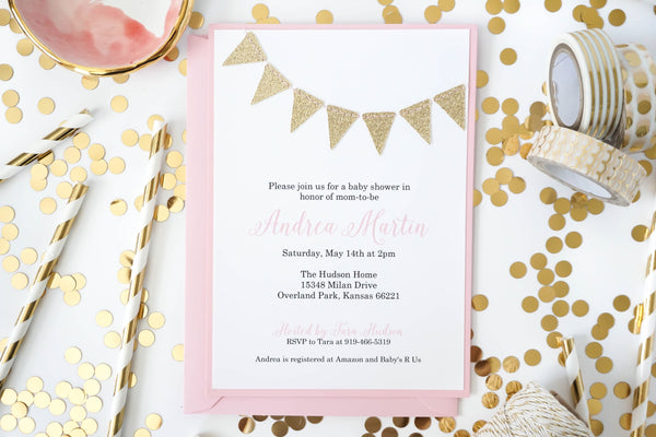 Pink & Gold Party | Glitter Bunting Invitation