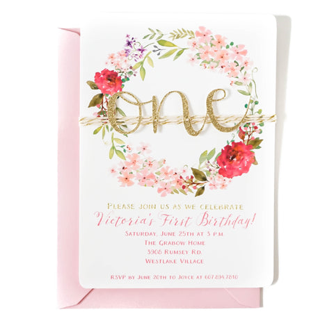 First birthday invitation | Purple and Pink Floral ONE