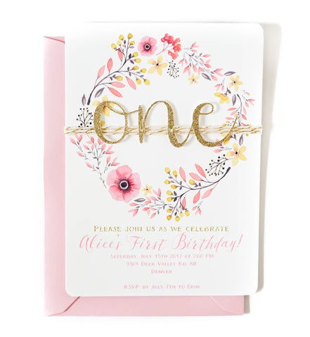 First birthday invitation | Floral ONE