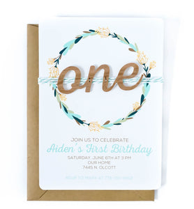 First Birthday Invitation | Wood ONE Mint Woodland