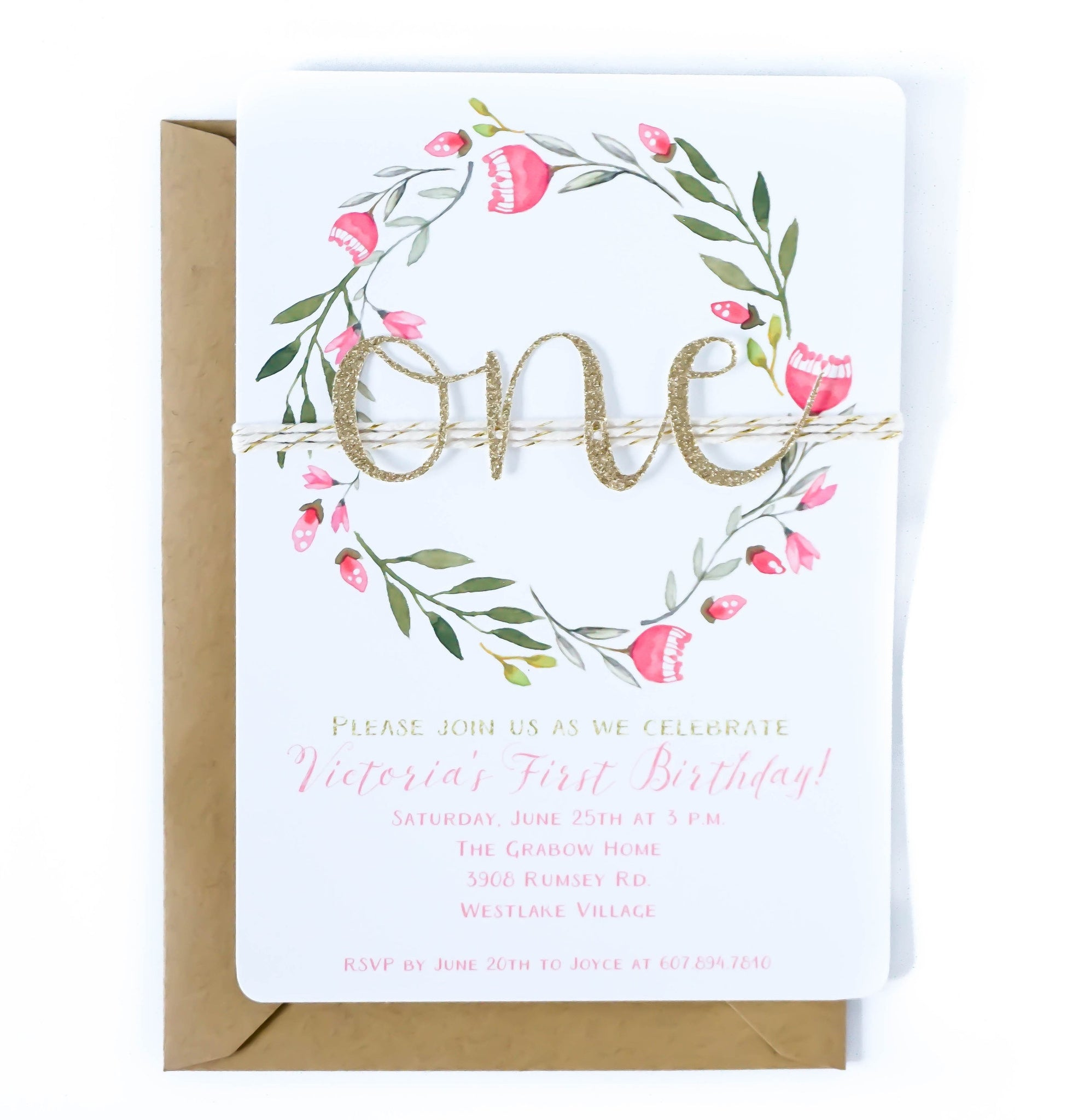 First birthday invitation | Pink Floral ONE