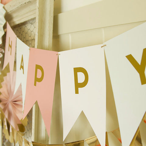 Banner | Happy Birthday | Pink, Mint and Gold