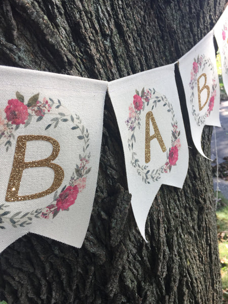 Banner | Baby Shower | Floral Pink & Gold